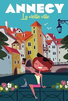 Poster Vintage, Vintage Travel Posters, Annecy France, Photographie Indie, Beer Packaging, Travel Cards, Poster Ads, Travel Illustration, City Art