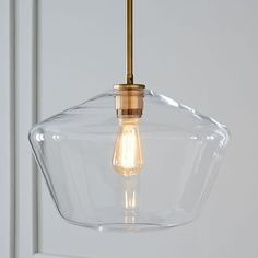 Scultural Glass Pendant, Large Geo, Clear Shade, Bronze Canopy at West Elm - Pendants - Home Lighting - Hanging Lights Farmhouse Pendant Lighting, Modern Pendant Light, Glass Pendant Light, Globe Pendant, Glass Pendants, Kitchen Lighting, Pendant Lights, West Elm Pendant Light, Pendant Lamps