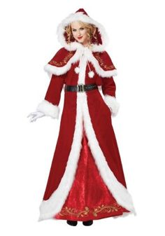 Women Santa costumes also are available in the style of a skater dress and this style has gained a lot of prominences recently.Pick up your style and get ready with all other Santa dress accessories along with your perfectly styles women Santa costume. Mrs Claus Outfit, Mrs Santa Claus Costume, Mrs Claus Dress, Adult Costumes, Costumes For Women, Santa Dress, California Costumes, Santa Suits, Christmas Costumes