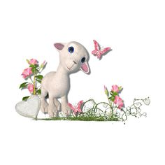 Lamb Cluster.png ❤ liked on Polyvore featuring animals and pink