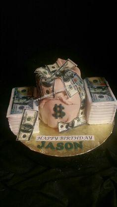 Money stacks, money bag cake. All edible