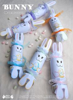 Easter bunny crackers Printable Easter bunnies with floral