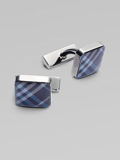 "Burberry Enamel Check Square Cuff Links.     Classic square cuff links with a signature check pattern.  99% brass/1% enamel  ½"" square"