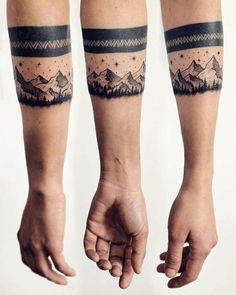 Armband Tattoo schwarz Gebirgen