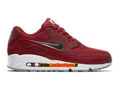 Nike Air Max 90 Essential - Chaussure Nike Sportswear Pas Cher Pour Homme Rouge sportif/Blanc/Gris loup/Étain métallique 537384-602
