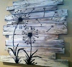 Pin de may avella poveda en arte de pared con palé дерево, дом y украсить с Wood Pallet Art, Pallet Painting, Pallet Crafts, Painting On Wood, Wood Crafts, Pallet Ideas, Wooden Pallets, Art Diy, Diy Wall Art