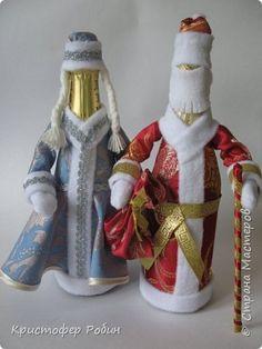 Мастер-класс Поделка изделие Новый год Чехол съемный на бутылку Снегурочка мини МК Картон Ткань фото 1