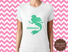 ariel silhouette glitter shirt. other princess silhouettes too!