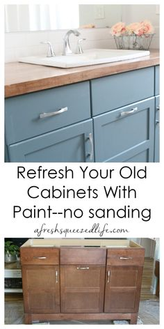 Did you know you can paint bathroom and kitchen cabinets without sanding?  This DIY project is a great way to refresh your living space with color.  My video will walk you step by step through the process and you will also see my before and after.  This project is perfect for your rustic, farmhouse style home!