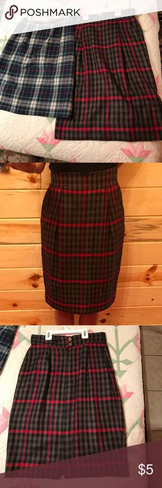 2 plaid skirts. A red black and brown plaid skirt by Paul Stanley and a Pendleton green white blue and red plaid skirt by Mackenzie.    Both are labeled size 8 but I wear a size 4 and they are too tight for me.    They should be listed as a 2. Skirts