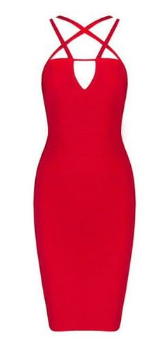 Olga Cutout Red Bandage Dress