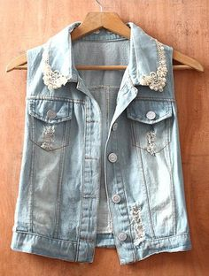 Blue Single Breasted Pearls Ripped Sequined Lace Denim Coat  Price :$31.04