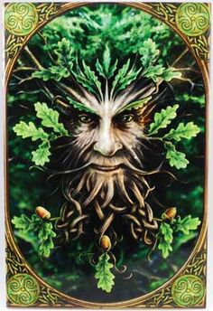 Greenman large Anne Stokes ceramic tile  I love the celtic knots in his root-beard