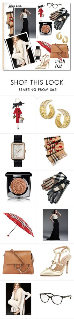 """""""The Holiday Wish List With Neiman Marcus: Contest Entry"""" by bloomy53 ❤ liked on Polyvore featuring Soffieria de Carlini, Michael Aram, Chanel, Burberry, Neiman Marcus, Carmen Marc Valvo, Chloé, Valentino, Bulgari and holidays"""