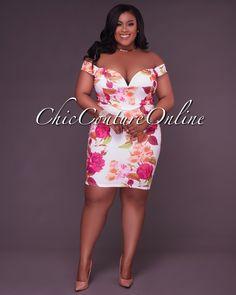 892cd902ecc8c Chic Couture Online - Vittoria Off-White Multi-Color Floral Print  CURVACEOUS Dress