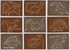 dino's tekenen met witte stift op bruin papier - Art Projects for Kids: art trading cards Dinosaur Art Projects, Projects For Kids, Drawing For Kids, Art For Kids, Art Trading Cards, Dinosaur Drawing, Atc Cards, Drawing Projects, Art Plastique