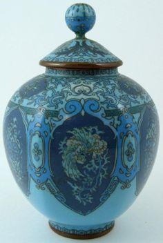 Chinese Cloisonne powder blue ginger jar...enamel on brass.