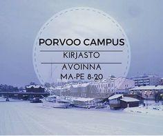 Porvoo campus kirjasto auki jatkossa kahdeksasta kahdeksaan! Asiakaspalvelu ma-ti 9.30-18.30, ke-to 9.30-16 ja pe 9.30-15.