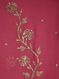 Carmine Red -  Floral Mukaish Pure Georgette Kurta Fabric - detail