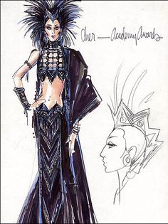 Hire Me Bob Mackie: Oscars and Cher. Bob Mackie, Cher Oscar, Cher Costume, Costume Design Sketch, Ella Enchanted, Cher Bono, Old Hollywood Movies, Illustration Mode, Illustrations