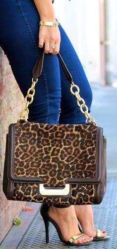DIANE VON FURSTENBERG Leopard Haircalf New Harper Connect Bag