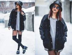 Stüssy Bucket Hat, Karmaloop Triangle Sunglasses, Forever 21 Sweater, Forever 21 Varsity Jacket, American Apparel Thigh High Socks, Urban Outfitters Platforms