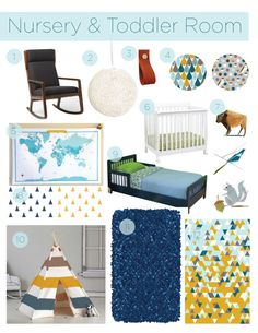 Nursery & Toddler Room Inspiration Board // navy, mustard, cream, light blue