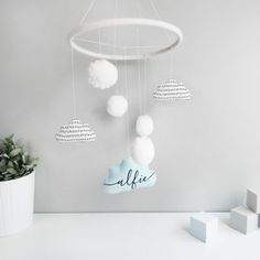 Personalised Cloud Mobile With Pom Poms