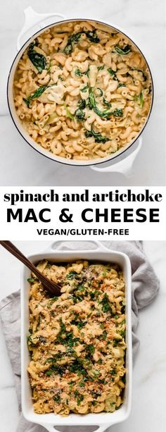 "This Vegan Spinach and Artichoke Mac and Cheese is made with sauteed spinach and artichokes, and a creamy cashew ""cheese"" sauce! Vegan Mac And Cheese, Cheesy Mac And Cheese, Cashew Cheese, Cheese Sauce, Mac Cheese, Cheese Fruit, Vegan Dinner Recipes, Vegan Dinners, Pasta Recipes"