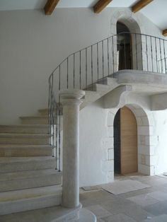 Hand forged balustrade in place on the French manor house staircase...