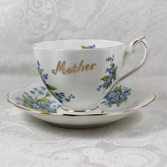 Vintage Queen Anne English Bone China Blue Forget Me by scdvintage, $15.00