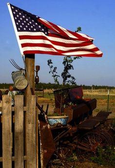 Old Glory flying in rural America.