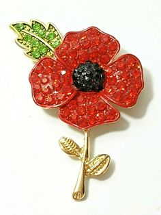 My eBay: Active Poppy Brooches, Earring Box, Four Leaves, Small Leaf, Remembrance Day, Brooches Handmade, Leaf Earrings, Austrian Crystal, Red Poppies
