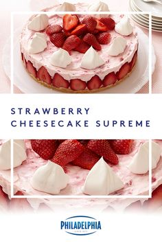 End your night on a sweet note with this refreshing strawberry no-bake cheesecake recipe. Desserts Keto, Cheesecake Desserts, No Bake Desserts, Just Desserts, Dessert Recipes, Cupcake Cakes, Cupcakes, Baked Cheesecake Recipe, Baked Strawberries