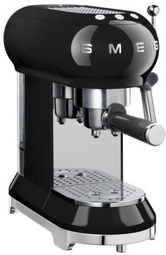 Shop Smeg - Retro Espresso Coffee Machine Black at Peter's of Kensington. View our range of Smeg online. Why in the world would you shop anywhere else for Smeg? Machine A Cafe Expresso, Espresso Coffee Machine, Espresso Maker, Coffee Maker, Coffee Club, Coffee Shop, Coffee Lovers, Coffee Time, Cafe Bar