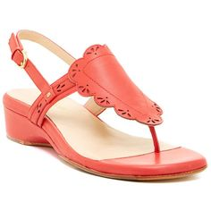 Taryn Rose Coral Kingston Leather Sandal ❤ liked on Polyvore featuring shoes, sandals, leather sandals, taryn rose shoes, coral shoes, coral sandals and taryn rose sandals