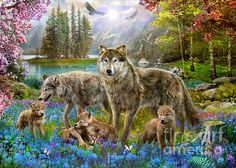 Wolf Family - Jigsaw Puzzle By Educa (discon) Animals Beautiful, Cute Animals, Wild Animals, Jigsaw, Family Canvas, Family Print, Family Wall, Mosaic Crosses, Canvas Prints