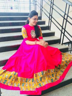 Lehenga Designs, Saree Blouse Designs, Kurta Designs, Kalamkari Designs, Kalamkari Dresses, Vanz, Indian Gowns Dresses, Frock Design, Anarkali Dress