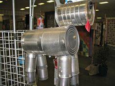 tin can dog Tin Can Man, Tin Can Crafts, Garden Art, Tin Cans, Canning, Decorations, Dog, School, Cover