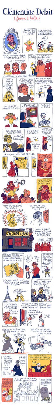 Pénélope Bagieu, les Culottées : Clémentine Delait (femme à barbe)