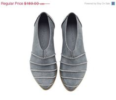 EASTER SALE Blue shoes, Michelle, Denim, Light blue, handmade, flats, leather shoes, by Tamar Shalem on etsy