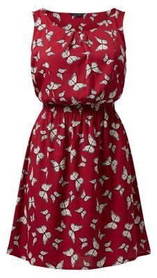 Red Butterfly Print Shirred Waist Sleeveless Dress | Lydia Martin Teen Wolf Style Guide.