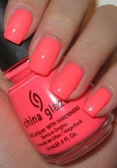 China glaze nail polish in flip flop fantasy. My fave summer color nail polish! Coral Nail Polish, China Glaze Nail Polish, Neon Nails, Love Nails, How To Do Nails, My Nails, Nail Polishes, Summer Nail Polish Colors, Color Nails