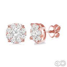 1 1/2 Ctw Lovebright Round Cut Diamond Earrings in 14K Pink Gold