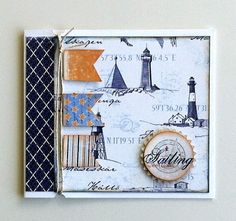 Tag gift card nautical sea sailing marine ocean, banner, lighthouse, Majadesign Life by the Sea paper collection #majadesign - JKE
