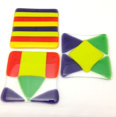 Fused Art Glass.  Fused glass patchwork coasters.  Different shape.  Set of three (3). - pinned by pin4etsy.com