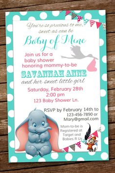 Hey, I found this really awesome Etsy listing at https://www.etsy.com/uk/listing/217448212/dumbo-baby-shower-invitation-baby-of