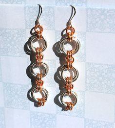 Chainmaille Triple Hoop Sterling Silver & Copper Earrings ( E697). $39.00, via Etsy.