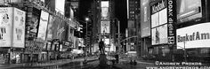 Panoramic View of Times Square at Night - http://andrewprokos.com/photos/black-and-white/