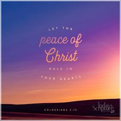 Colossians Each one of you is part of the body of Christ, and you were chosen to live together in peace. So let the peace that comes from Christ control your thoughts. Peace Of God, Word Of God, Inner Peace, Bible Verses Quotes, Bible Scriptures, Today's Scripture, Prayer Verses, Youth Verses, Healing Scriptures